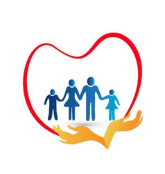 family love protected hands logo vector image
