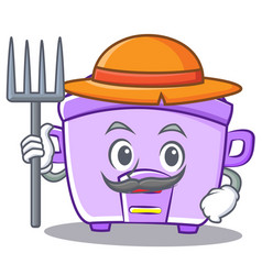 Farmer rice cooker character cartoon vector