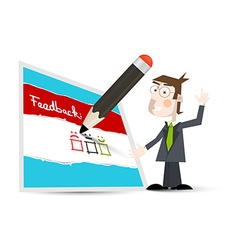 Feedback Form Feedback Icon with Business Man and vector image