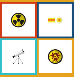 Flat icon study set of scope danger chemical and vector