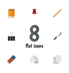 Flat icon tool set of pencil rubber pushpin and vector