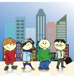 Four teenage boy on a background of the city vector