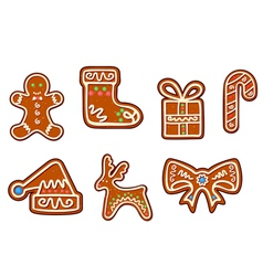 Gingerbread christmas holiday objects set vector