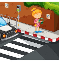 Girl listening to music on pavement vector