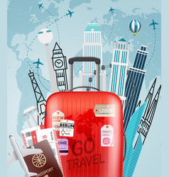 go travel concept with red bag vector image