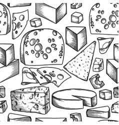graphic pattern of different types of cheese vector image