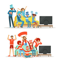 Group of friends watching sports on tv and vector
