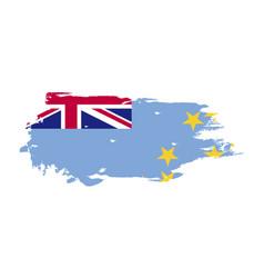 grunge brush stroke with tuvalu national flag vector image