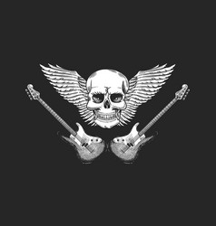 guitar with angel wings and skull hand drawn vector image