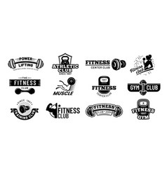 gym badges bodybuilding stencil label fitness vector image