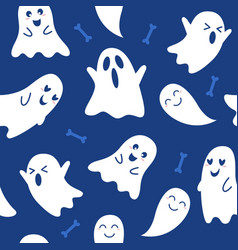 halloween ghost seamless pattern vector image