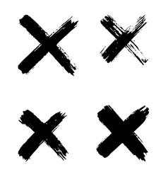 hand drawn set cross brush strokes x black vector image
