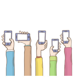 hands with phone template cartoon vector image