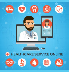 Healthcare service online medical consultation vector