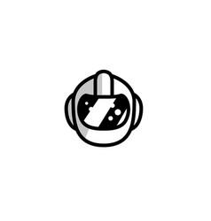 Helmet head protection security logo design vector