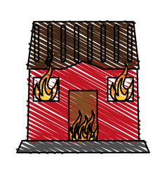 House burning fire vector