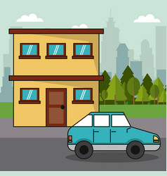 House car transport family ecology concept vector