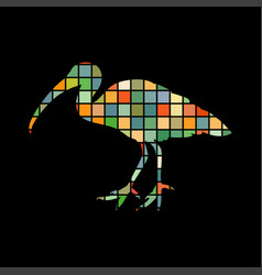 ibis bird mosaic color silhouette animal vector image