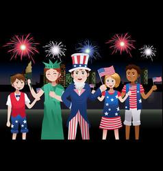 Kids celebrating fourth of july vector