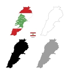 lebanon country black silhouette and with flag vector image
