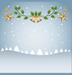 merry christmas card template tree snow and branch vector image vector image