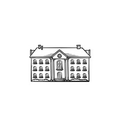 old apartment building hand drawn outline doodle vector image
