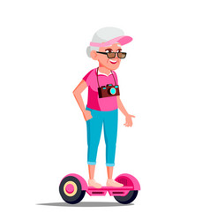 old woman on hoverboard riding on gyro vector image