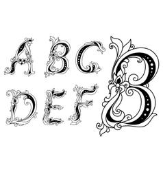 Outline floral font vector image
