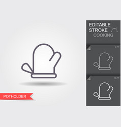 oven glove line icon with editable stroke vector image