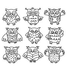 Owl black outline vector