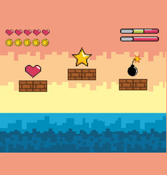 pixelated videogame scene with star and heart with vector image