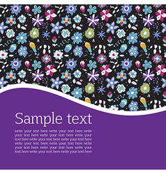 Postcard with flowers scrolls and leaves vector