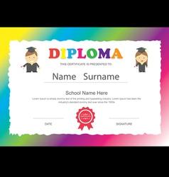 Preschool kids elementary school diploma vector