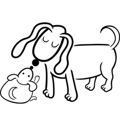 puppy and dog mom for coloring vector image