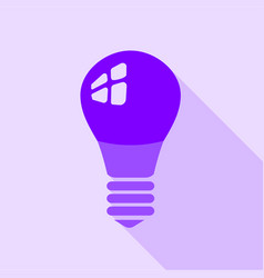 purple electric bulb icon flat style vector image