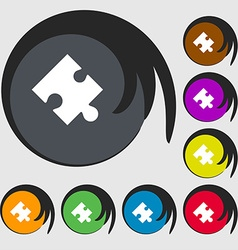 Puzzle piece icon sign Symbols on eight colored vector