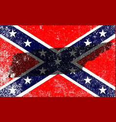 Rebel civil war flag with tennessee map vector
