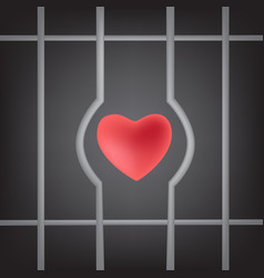 red heart sign will escape from prison symbol vector image