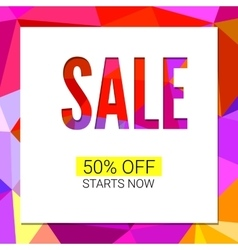 Sale banner on low poly background with elegant vector image