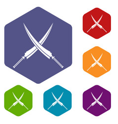 samurai swords icons set hexagon vector image vector image