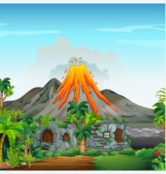 Scene with volcano and cavehouse vector