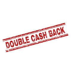 Scratched textured double cash back stamp seal vector