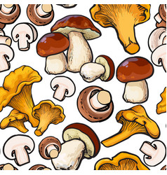 Seamless pattern of chanterelle champignon vector