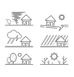 Set black isolated natural disaster symbol vector