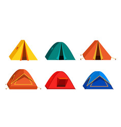 Set bright colourful tourist tent icon isolated vector
