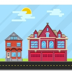 Set buildings house old house and fire station vector