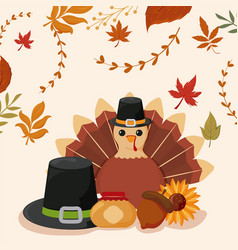 Set icons thanksgiving with autumn leaves of vector