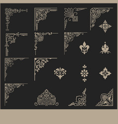 Set of floral design elements and page vector