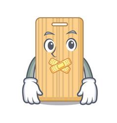 silent wooden cutting board mascot cartoon vector image