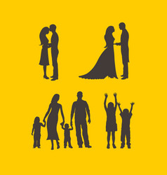 silhouette of a happy family vector image